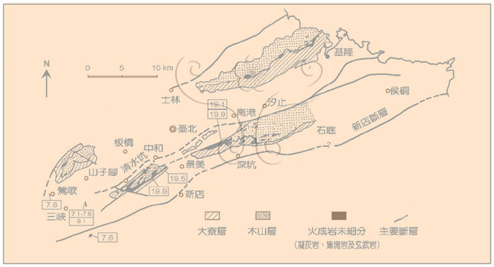 * 圖說:圖1.臺灣北部基隆與三峽間中新世下部火山岩分布圖(原圖取自何春蓀,1969)。框內數字代表鉀-氬法定年結果,單位百萬年。* 作者:莊文星