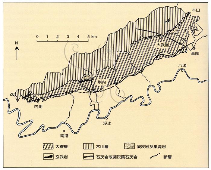 * 圖說:圖2.基隆至內湖間地質略圖並示中新世下部火山岩分布(原圖取自何春蓀,1969)* 作者:莊文星