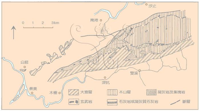 * 圖說:圖3.南港至深坑間地質略圖並示中新世下部火山岩分布(原圖取自何春蓀,1969)* 作者:莊文星