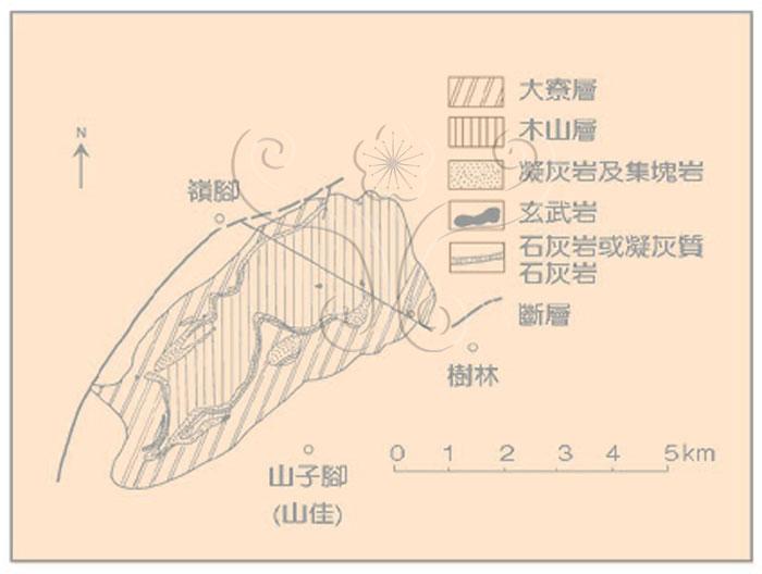 * 圖說:圖4.山子腳地質略圖並示中新世下部火山岩分布(原圖取自何春蓀,1969)* 作者:莊文星