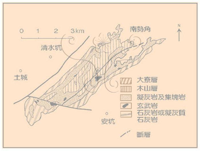 * 圖說:圖5.清水坑地質略圖並示中新世下部火山岩分布(原圖取自何春蓀,1969)* 作者:莊文星