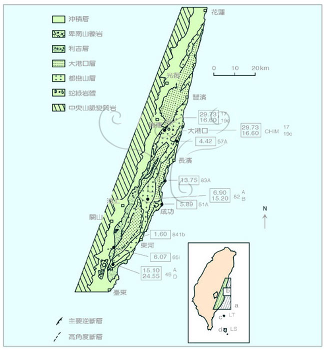 台湾东部海岸山脉地质及岩石定年采样位置图(原地质图参考徐铁良,1956