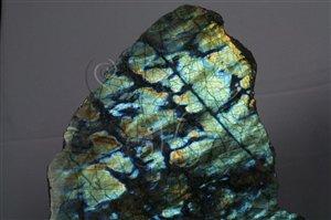 * 圖說:圖4.拉長石因具有聚片雙晶,光線入射後可以折射出漂亮的色彩。* 作者:洪誌楀拍攝* 智財權:國立自然科學博物館